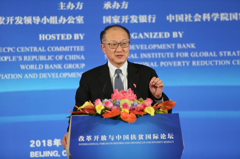 November 1, 2018: Jim Yong Kim, president of the World Bank Group, delivers a keynote speech at the opening ceremony of an international forum on poverty reduction held in Beijing.