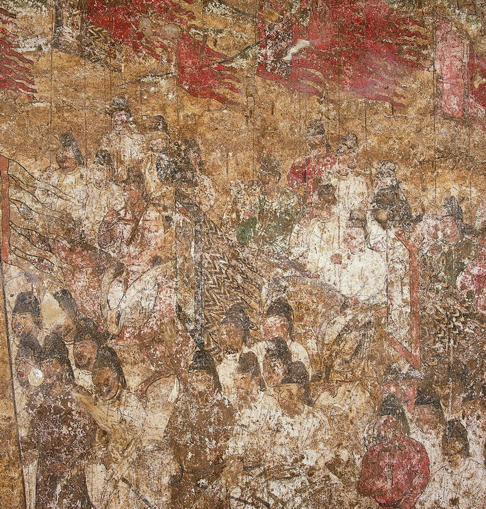 Ceremony of Honor at Side Tower, a mural found in the tomb of crown prince Yide. The piece embodies the exquisite painting skills of the Tang Dynasty (618-907). Excavated in 1971, it is now housed in the Shaanxi History Museum.