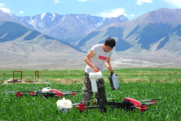 June 11, 2018: A drone operator changes battery and pesticide tank in Hami City of China's Xinjiang Uygur Autonomous Region. During harvest peak time, drone operators from Heilongjiang Province are often hired to work in other provinces and regions. VCG