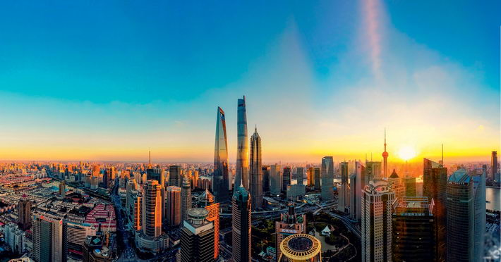 Towering skyscrapers in the Lujiazui Finance and Trade Zone testify to the remarkable achievements of Pudong's development and opening up over the past 28 years.  by Xu Wanglin