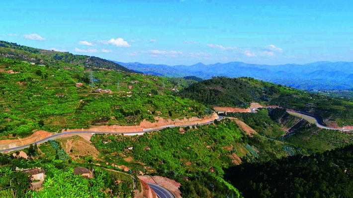 A section of the Rwanda-Burundi transnational highway project constructed by STECOL Corporation in western Rwanda.  courtesy of STECOL Corporation