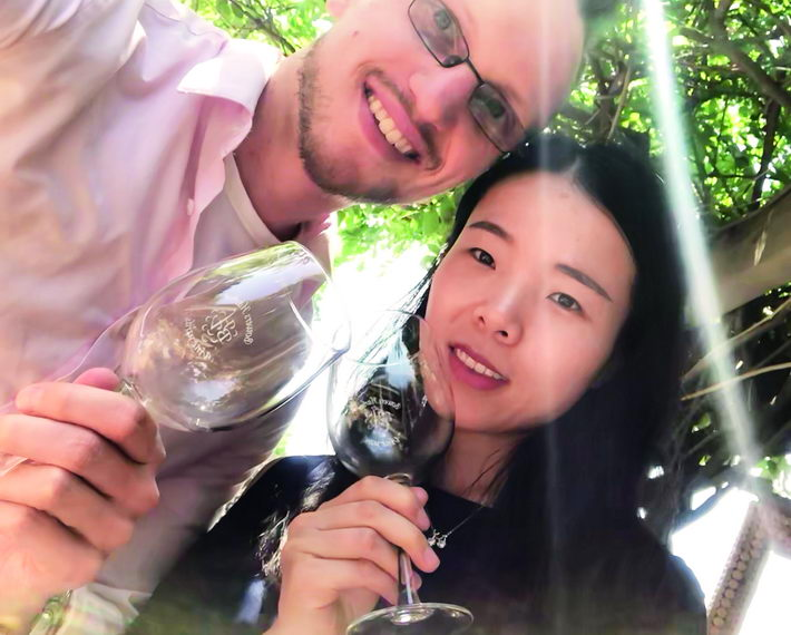 The author and his girlfriend enjoy wine tasting at a vineyard on Old Mission Peninsula near the author's hometown in Michigan, U.S.A. courtesy of the author