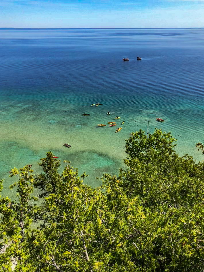 Kayakers on Lake Huron in Michigan, U.S.A.  courtesy of the author