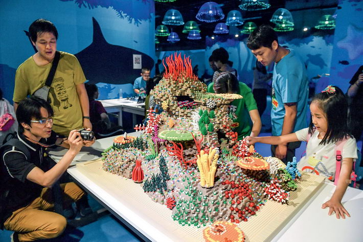 September 8, 2018: Using over two million Lego bricks, the Brick Live Animal Paradise exhibition at the National Stadium, Beijing, creates a unique world for both children and adults. VCG