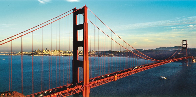 The Golden Gate Bridge was built in 1937. The San Francisco Bay